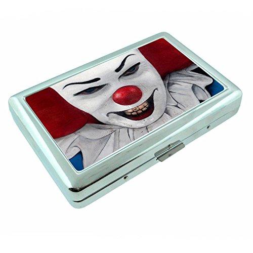 Evil Clown Horror Scary S1 Silver Cigarette Case Metal Wallet Id Holder 4