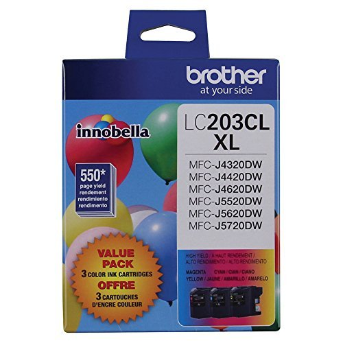 Brother LC-203CL Ink Cartridge (Cyan, Magenta, Yellow, 3-pack) in Retail Packaging ()