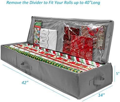 "Whitmor Christmas Storage Organizer – Durable 600D Material - Spacious Under Bed Holiday Wrapping Paper Storage Container, Storage for Gift Wrapping, Bags, Ribbon, and Bows – Fits as much as 40"" Rolls"
