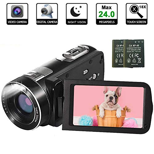 Video Camera Camcorder with IR Night Vision, WEILIANTE Full HD Digital Camera Recorder 15FPS 24MP 3.0 Inch 18X Digital Zoom with 2 Batteries