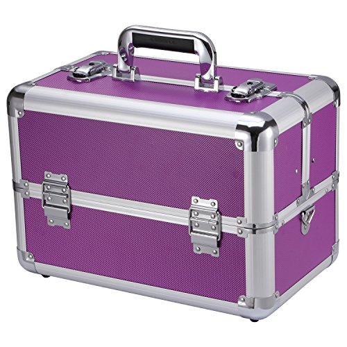 Ollieroo® Makeup Train Case Professional 14 Large Make Up Artist Organizer Kit Shoulder Bag with Adjustable Dividers Key Lock Cosmetic Studio Box Designed to Fit all Cosmetics Purple