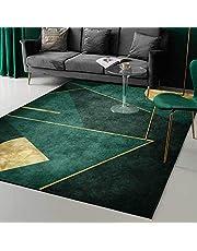 Tapijt, smaragd donkergroen eenvoudig gouden geometrie tapijt, voor slaapkamer nachtkastje woonkamer keuken vloermat tapijten,160 * 230CM