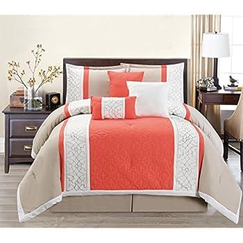 7 piece modern oversize coral orange white beige leaf embroidered comforter set king size