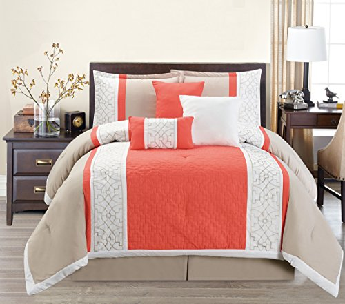 Beige Leaves - 7 Piece Modern Oversize Coral Orange/White/Beige Leaf Embroidered Comforter set KING Size Bedding