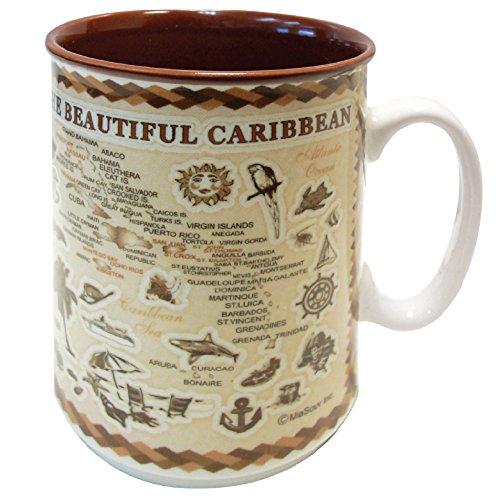 Mug Caribbean Islands Souvenir Antique Brown Map Embossed Ceramic Coffee Mug Tea Cup 11 oz (Caribbean)