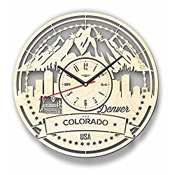 7Arts Colorado Wooden Clock - Decorative Wall Clock Made from Eco Wood with Silent Quartz Movement and Autonomous Power Source - Can be Painted, Great Gift Idea