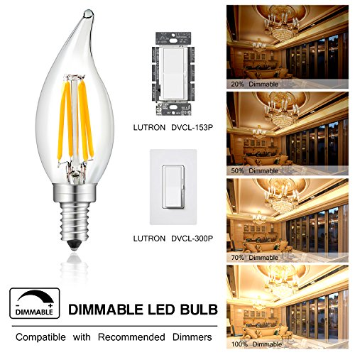 4 Pack 4w Led Filament Candelabra Bulb 40w Incandescent: LED Bulbs CA10 4W Dimmable 2700K Candelabra Filament With