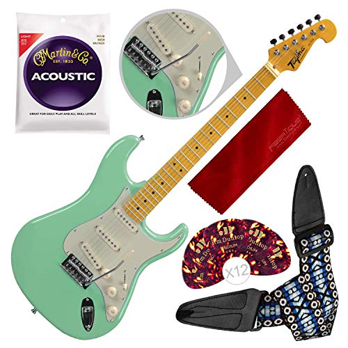 Tagima TG530-SG Woodstock Series Strat Style Electric Guitar, Surf Green with Guitar Strap and Accessory -