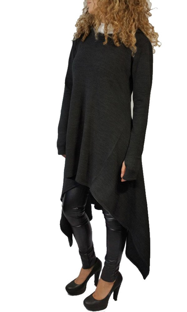 Womens Irregular Hem Loose Fitting Tops Long Sleeve Hooded Sweater Tunic Dress Black US 8