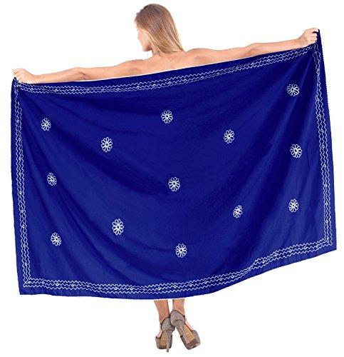rayón delicado traje de baño traje de baño bikini bordado encubrir pareo falda Bleu Vif | Nous: 26W (2X) / Uk: 28