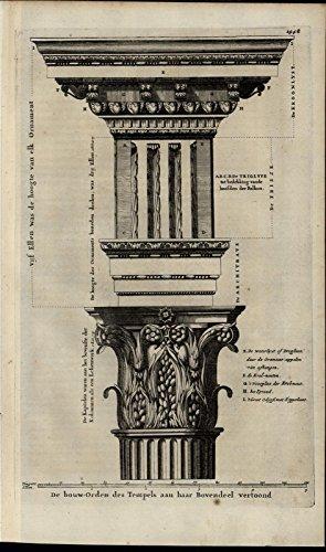 Temple Design Constructions Column Ornate Architecture rare 1700 antique print