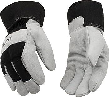 Kinco 1932-XL-1 Suede cowhide palm, Lined safety cuff, Ergonomic wing thumb, Heatkeep thermal lining, 6pr Green, 6pr BlackPer dozen, Size: XL