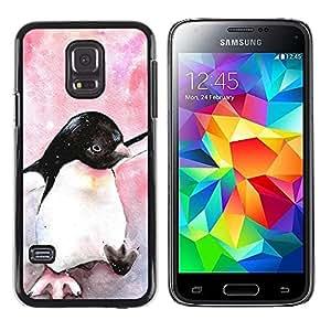 iKiki Tech / Estuche rígido - Watercolor Penguin Baby Bird Antarctic - Samsung Galaxy S5 Mini, SM-G800, NOT S5 REGULAR!