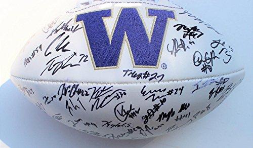 2016-17 Washington Huskies Team Signed Logo Football w/COA Browning C - Autographed College Footballs