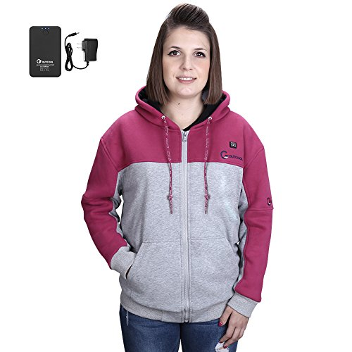 OUTCOOL Women's Cordless Heated Hoodie Kit Color Matching Design Full-Zip Hooded Fleece Sweatshirt(M) by OUTCOOL