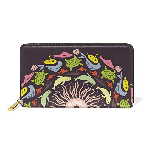 With Handbags Fish Organizer And Round TIZORAX Womens Purses Clutch Wallet Around Zip Abstract Colored twAgf4