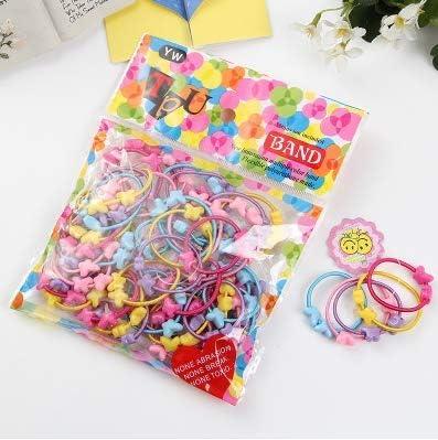 50Pcs//bag Cartoon Flowers Star Baby Kids Ponytail Girl Rubber Hair Ornaments