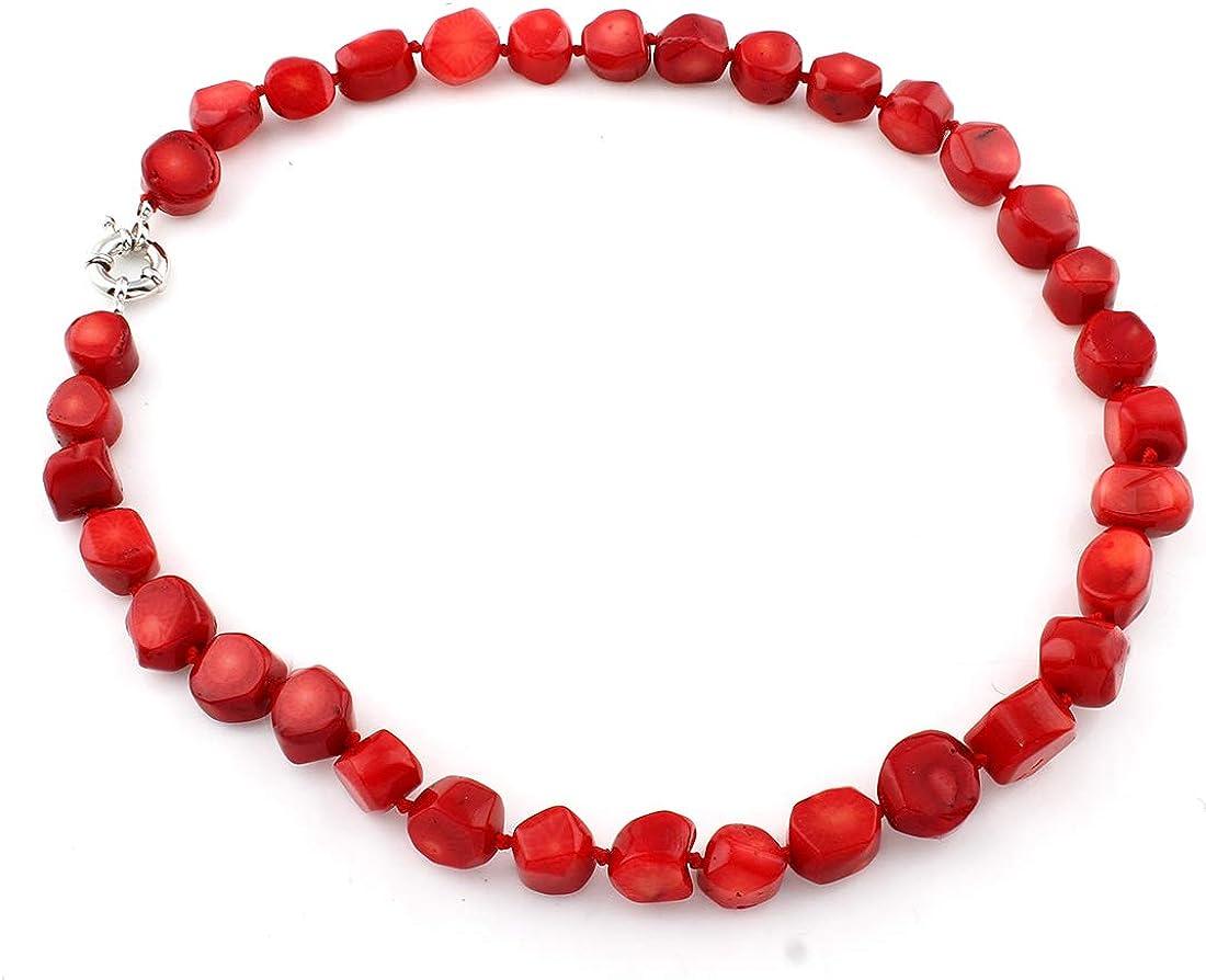 TreasureBay Collar de coral rojo natural 49cm