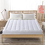 Image of Hypoallergenic Quilted Mattress Pad Cover with 300TC 100% Cotton Down Alternative Filled Mattress Topper,8-21 Inch Deep Pocket (Queen)
