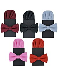 5 Sets Heymei Men's Convenience Pre-tied Square Bowtie Pocket Square Handy Set (Red Black Crimson Grey Pink)