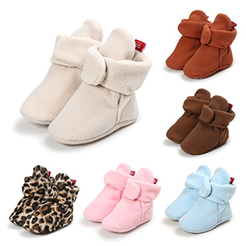 (LUWU Baby Boy Girls Newborn Soft Fleece Booties Infant Toddle Crib Shoes Winter Snow Boots (6-12 Months, Leopard))