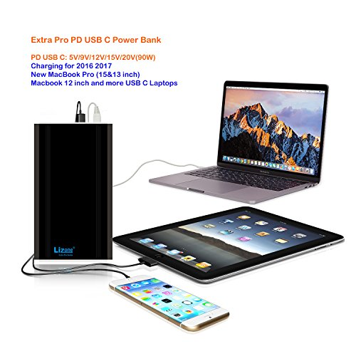 Lizone Extra Pro 50000mAh PD USB C External Battery Power Bank Portable Charger for 2016 2017 Macbook Pro HP Spectre Lenovo Yoga Asus LG Dell Razer Blade Stealth Acer PD USB-C Laptop Tablet Smartphone by Lizone (Image #3)