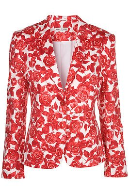 Topshop Red Floral Rose Jacket Blazer Coat by Jones and Jones UK 8 ...
