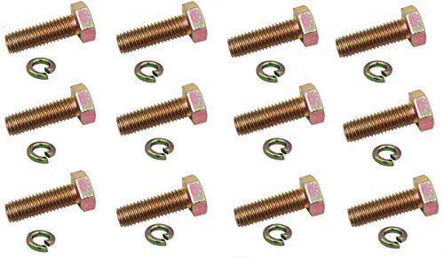 Split Spindle - Steel Hex Head Cap Screw Bolts/Hex Flat Head Bolts and Split Lock Washer GY20785 GY20050 for John Deere Spindle 12-Pack