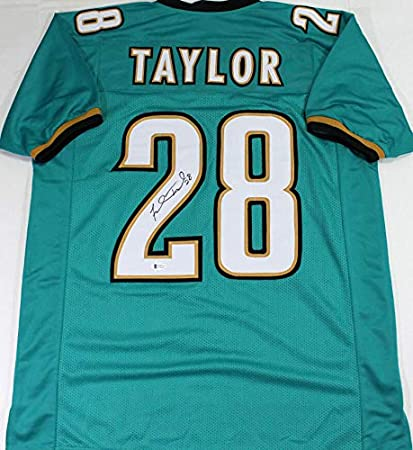Fred Taylor Autographed Teal Pro Style Jersey- Beckett W Black 2 ...
