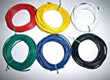 30' 18 Gauge AWG Ga Black Red Yellow White Green Blue Car Alarm Primary Wire 12V(Quality & USA Fast Shipping)