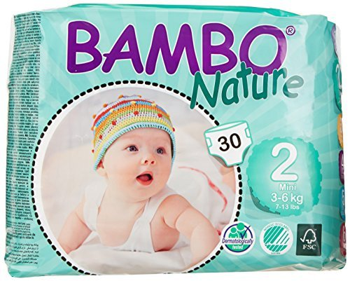 Bambo Nature Premium Baby Diapers, Mini, Size 2, 30 Count (Pack of 6) (One Month Supply) by Bambo Nature by Bambo Nature