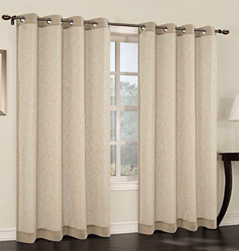Urbanest 54-inch by 96-inch Faux Linen Sheer Set of 2 Curtain Panels with Grommets, Sand