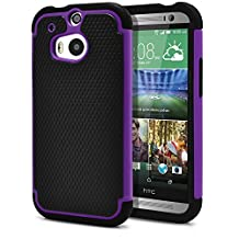 HTC One M8 Case, MagicMobile® Rugged Durable Impact Resistant Shockproof Double Layer Cover Hard Armor Shield Shell and Soft Flexible Silicone Case for HTC One 8 Color: Black - Purple [Compatible Only with HTC One M8]