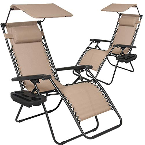 (BestMassage Patio Chairs Zero Gravity Chair Lounge Chair 2 Pack Recliner for Outdoor Funiture W/Folding Canopy Shade and Cup)