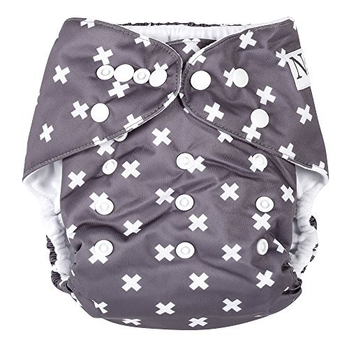 Unisex Swiss Cross Baby Cloth Pocket Diaper 1 Pack and 1 Bamboo Insert by Nora's Nursery from Nora's Nursery