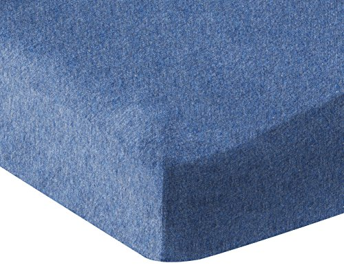 AmazonBasics Heather Jersey Fitted Crib Sheet, Chambray