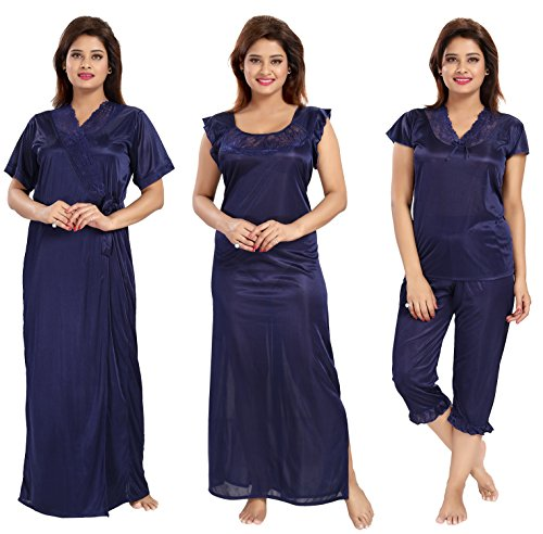 1be57e39b2 related-product. Noty Women s Satin Nighty - 4 Pc Set- Nighty Robe Top Capri  · related-product. Tucute Women s ...