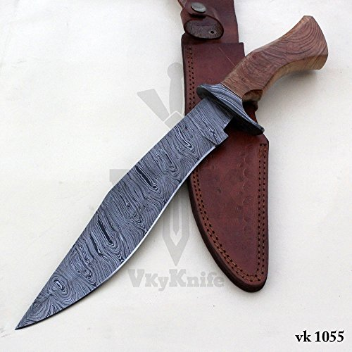 Handmade Damascus Steel Hunting Bowie Knife with Leather Sheath outdoor camping 15.50 Inches vk1055 by JNR TRADERS (Image #7)