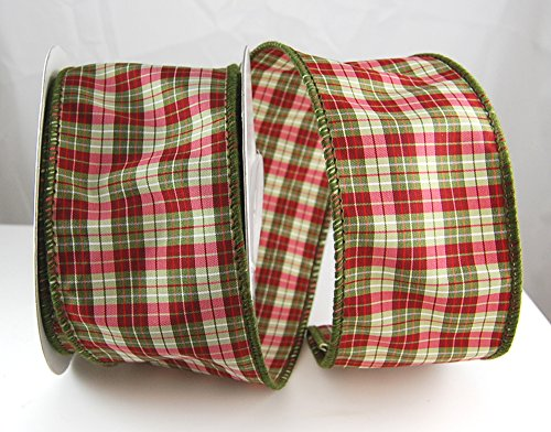 Wire Edged Middlebury Apple Burgundy and Olive Dupioni Plaid Christmas Ribbon 2 1/2