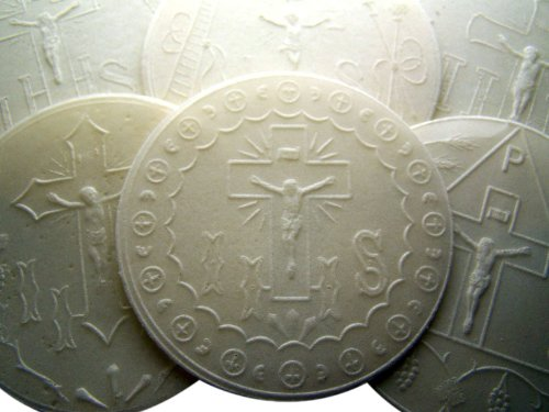 - Assorted Pack of 100 White Altar Bread Embossed with Traditonal Designs 2 7/8