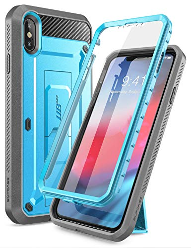 iPhone Xs Max Case, SUPCASE [Unicorn Beetle Pro Series] Full-Body Rugged Holster Case with Built-in Screen Protector Kickstand for iPhone Xs Max 6.5 inch 2018 Release (Blue)