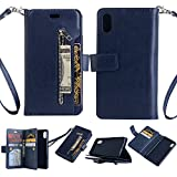 iPhone X Case,DAMONDY Zipper Stand Wallet Purse 9 Card Slot ID Holders Design Flip Cover Pocket Purse Leather Magnetic Protective for Apple iPhone X (2017)-deep blue