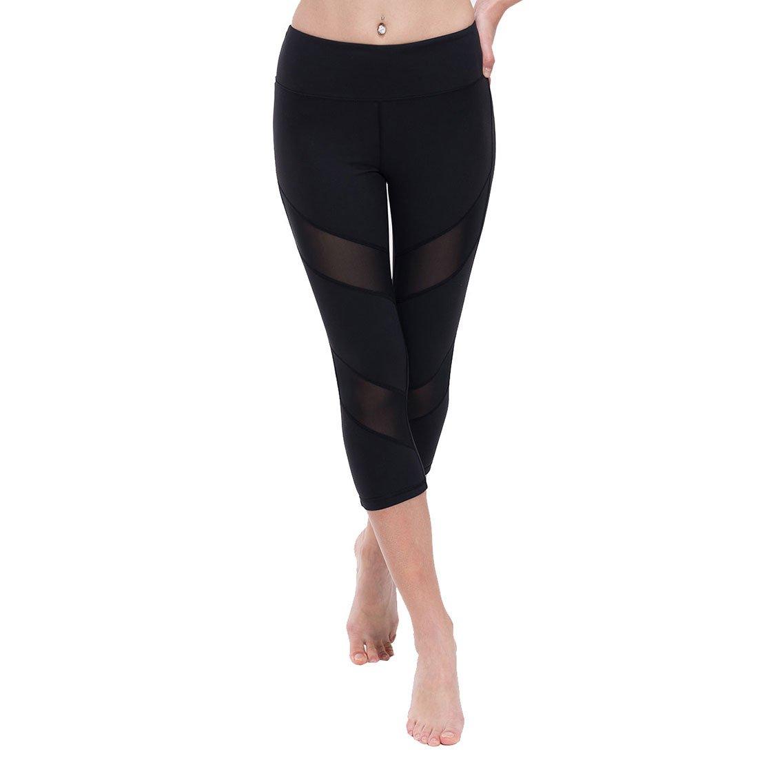 ONGASOFT Damen Capri-Leggings, Mesh-Training, Yoga-Hose mit Innentasche