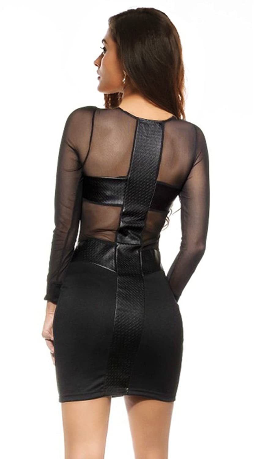 CRC Women's Long Sleeve See Through Mesh U-Neck Sexy Clubwear Bodycon Party Dress