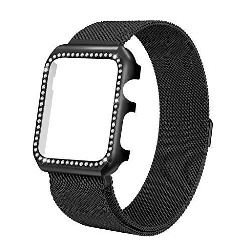 iTerk Compatible Apple Watch Band 42mm,Elegant Case Stainless Steel Bands with Bling Diamond Smart Watch Strap Magnetic Buckle Replacement Wristband Compatible iWatch Series 3 2 ()