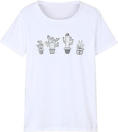 Happy-day Mujer O-Cuello Camiseta Verano Blanca Manga Corta Botánica Impresión Blusa Tops Blusas, Ropa, Blanco Negro (S, Blanco): Amazon.es: Ropa y accesorios