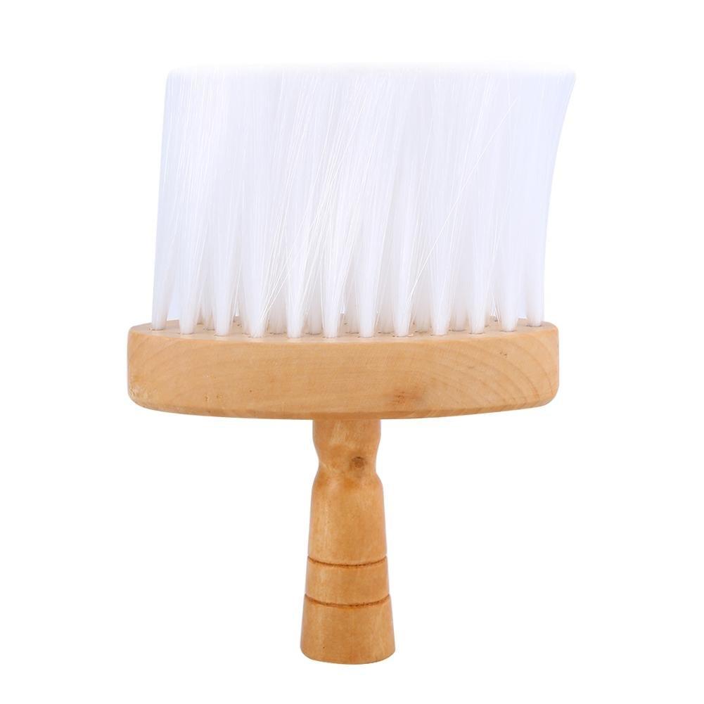 Cepillo de cuello plumero, cepillo de pelo limpio herramienta de mango de madera para peluquería peluquería Filfeel