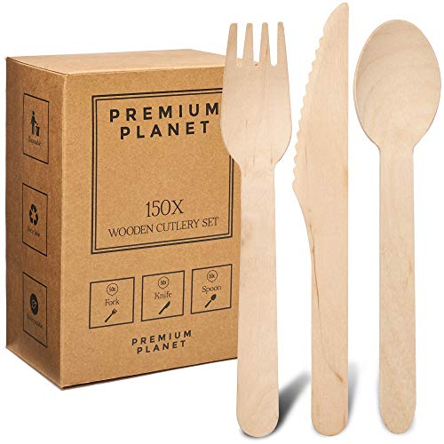 Premium Planet Large Eco-Friendly 150x Wooden Cutlery Set | Storage Box | 50x Forks 50x Knives 50x Spoons | Sturdy…