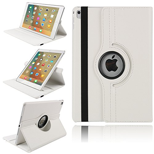 TechCode ipad Case 4 3 2, 360 Degrees Rotating Magnetic PU Leather with Stand Smart Case Cover for Apple iPad 2 iPad 3 iPad 4 9.7 inch Tablet(White)