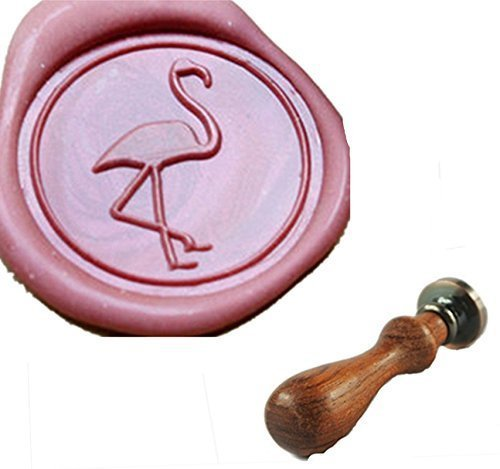MDLG Vintage Custom Flamingos Crane Personalized Picture Letter Logo Retro Invitation Wax Seal Stamp Rosewood Handle Set